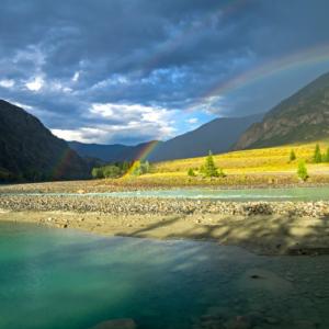 Nature, mountains, rainbow, river, sunrise